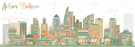 Johor Bahru Malaysia Skyline with Color Buildings. Vector Illustration. Business Travel and Tourism Illustration with Modern Architecture. Image for Presentation Banner Placard and Web Site. Illustration