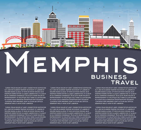 Memphis Skyline with Color Buildings, Blue Sky and Copy Space. Vector Illustration. Business Travel and Tourism Concept with Historic Architecture. Image for Presentation Banner Placard and Web Site.