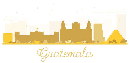 Guatemala City skyline golden silhouette. Vector illustration. Simple flat concept for tourism presentation, banner, placard or web site. Cityscape with landmarks. Illustration