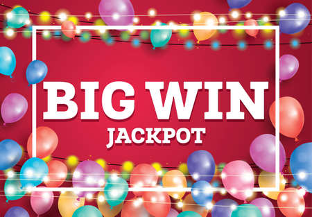 Big Win Jackpot Banner con Flying Balloons y White Frame. Ilustración vectorial Foto de archivo - 83401635
