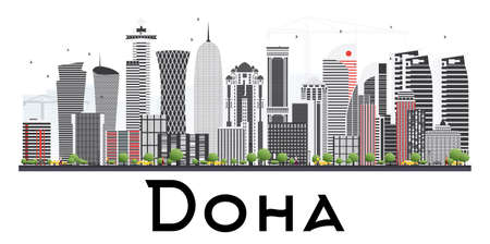 Doha Qatar Skyline with Gray Buildings Isolated on White Background. Vector Illustration. Business Travel and Tourism Concept.