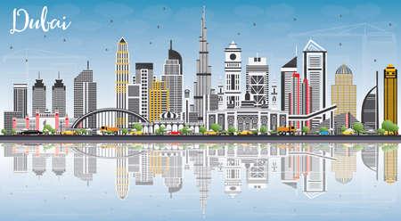 Skyline de Dubai UAE com edifícios de cinza, azul céu e reflexões. Ilustração vetorial. Viagens de negócios e turismo ilustração com arquitetura moderna. Imagem para apresentação Banner Banner e Web Site. Ilustración de vector