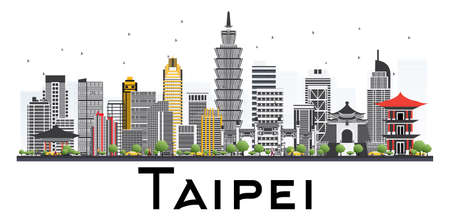 Taipei Taiwan Skyline with Gray Buildings Isolated on White Background. Vector Illustration. Business Travel and Tourism Concept.