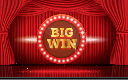Big Win Neon Banner with Red Curtain. Vector Illustration.