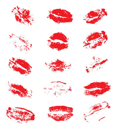 Lipstick Kiss Prints Isolated on White Background. Vector Illustration.
