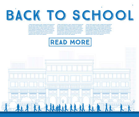 middle: Outline Back to School. Banner with School Bus, Building and Students. Vector Illustration.