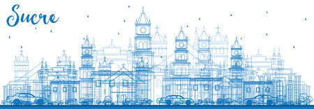 Outline of Sucre skyline with blue buildings vector illustration. Ilustrace