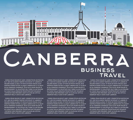 Canberra skyline with gray buildings, blue sky and copy space Vector Illustration. Illustration