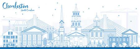 Outline of Charleston South Carolina skyline with blue buildings Vector illustration. Ilustração