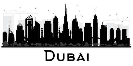 Dubai UAE City skyline black and white silhouette vector illustration.