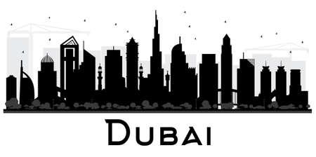 Illustrazione in bianco e nero di vettore della siluetta dell'orizzonte della città di Dubai UAE. Archivio Fotografico - 83617216