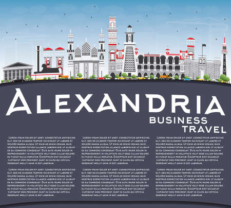 Alexandria Skyline with Gray Buildings, Blue Sky and Copy Space. Vector Illustration. Business Travel and Tourism Concept with Historic Architecture. Image for Presentation Banner Placard and Web Site.