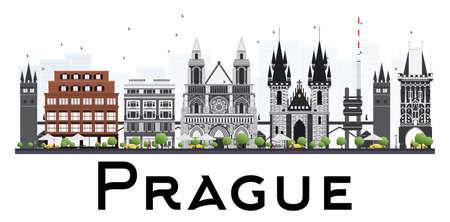 グレーの建物が白い背景で隔離のプラハのスカイライン。ベクトルの図。ビジネス旅行や歴史的建造物を観光図。プレゼンテーションのバナー用画  イラスト・ベクター素材