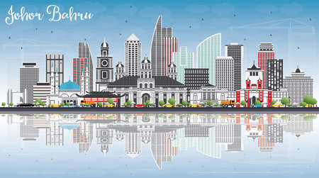 Johor Bahru Malaysia Skyline with Gray Buildings, Blue Sky and Reflections. Vector Illustration. Business Travel and Tourism Concept with Modern Architecture. Image for Presentation Banner Placard and Web Site.