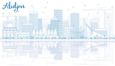 Umriss Abidjan Skyline mit blauen Gebäuden und Reflexionen. Vektor-Illustration. Geschäftsreise- und Tourismuskonzept mit moderner Architektur. Bild für Präsentation Banner Plakat und Website. Standard-Bild - 83788246