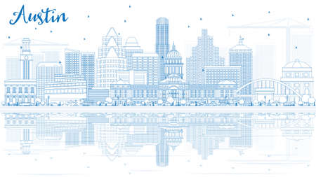 Outline Austin Skyline with Blue Buildings and Reflections. Vector Illustration. Business Travel and Tourism Concept with Modern Architecture. Image for Presentation Banner Placard and Web Site. Illustration