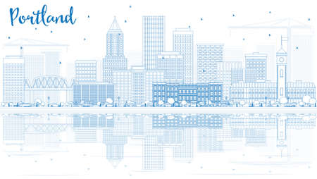 Outline Portland Skyline with Blue Buildings and Reflections. Vector Illustration. Business Travel and Tourism Concept with Modern Architecture. Image for Presentation Banner Placard and Web Site. Иллюстрация