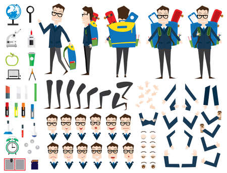hair style: School Boy Character Animation Set. Front, Back, Side View. Different Emotions. Vector Illustration. School Supplies. Isolated on White Background.