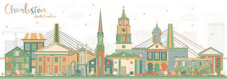 Charleston South Carolina Skyline with Color Buildings. Vector Illustration. Business Travel and Tourism Illustration with Historic Architecture.