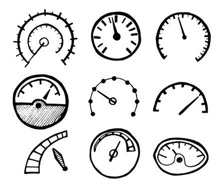 dashboard: Collection of Hand Drawn Speedometer Icons Isolated on White Background. Vector Illustration.