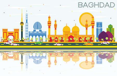 Skyline de Bagdade com edifícios de cor, céu azul e reflexões. Ilustração vetorial. Viagens de negócios e conceito de turismo com edifícios históricos. Imagem para apresentação Banner Banner e Web Site.