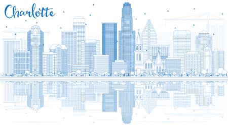 Umriss Charlotte Skyline mit blauen Gebäuden und Reflexionen. Vektor-Illustration. Geschäftsreise- und Tourismuskonzept mit moderner Architektur. Bild für Präsentation Banner Plakat und Website. Standard-Bild - 84002050