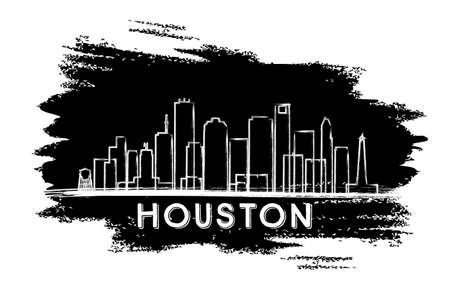 Houston Skyline Silhouette. Hand Drawn Sketch. Vector Illustration. Business Travel and Tourism Concept with Modern Architecture. Image for Presentation Banner Placard and Web Site.
