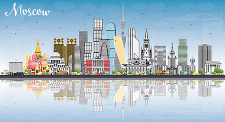 Moscow Russia Skyline with Gray Buildings, Blue Sky and Reflections. Vector Illustration. Business Travel and Tourism Illustration with Modern Architecture.