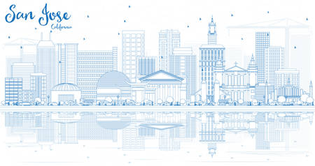 Outline San Jose California Skyline with Blue Buildings and Reflections. Vector Illustration. Business Travel and Tourism Concept with Modern Architecture. Illustration