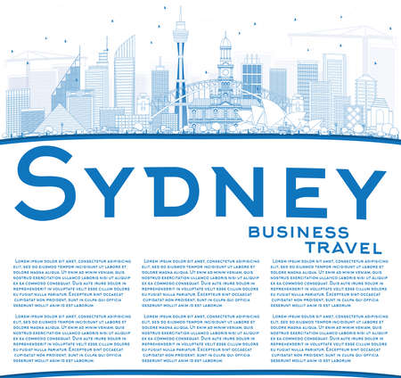 sydney skyline: Outline Sydney Australia Skyline with Blue Buildings and Copy Space. Vector Illustration. Business Travel and Tourism Concept with Modern Architecture. Image for Presentation Banner Placard and Web Site.