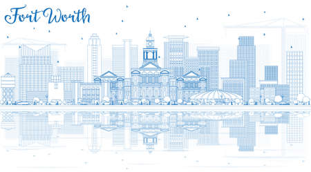 青い建物や反射をアウトライン フォート ワース スカイライン。ベクトルの図。ビジネス旅行と観光コンセプト モダンな建築。