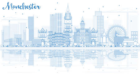Outline Manchester Skyline with Blue Buildings and Reflections. Vector Illustration. Business Travel and Tourism Concept with Modern Architecture. Illustration