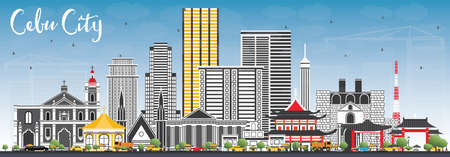 Cebu City Philippines Skyline with Gray Buildings and Blue Sky. Vector Illustration. Business Travel and Tourism Illustration with Modern Architecture.