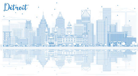 Outline Detroit Skyline with Blue Buildings and Reflections. Vector Illustration. Business Travel and Tourism Concept with Modern Architecture.