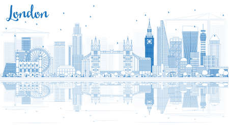 Outline London Skyline with Blue Buildings and Reflections. Vector Illustration.