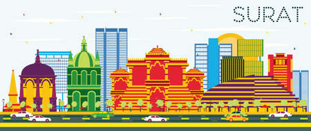 Surat Skyline with Color Buildings and Blue Sky. Vector Illustration. Business Travel and Tourism Concept with Historic Buildings.