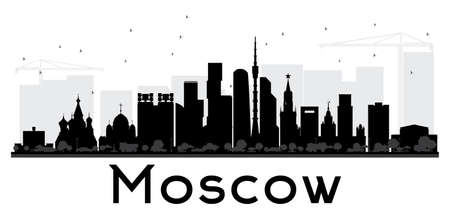 Moscow City skyline black and white silhouette. Vector illustration. Simple flat concept for tourism presentation, banner, placard or web site. Business travel concept.