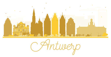Antwerp City skyline golden silhouette. Vector illustration. Simple flat concept for tourism presentation, banner, placard or web site. Cityscape with landmarks.