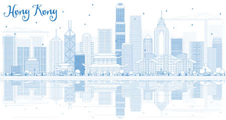 Outline Hong Kong Skyline with Blue Buildings and Reflections. Vector Illustration. Business Travel and Tourism Concept with Modern Architecture.