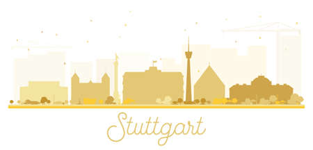 Stuttgart City skyline golden silhouette. Vector illustration. Simple flat concept for tourism presentation, banner, placard or web site. Cityscape with landmarks.