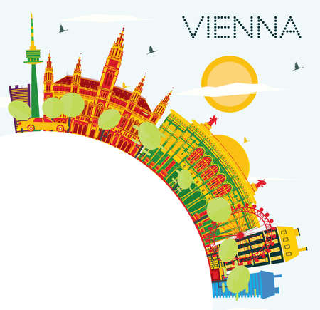 Wien-Skyline mit Farbgebäuden, blauer Himmel und Kopien-Raum. Vektor-Illustration. Geschäftsreise- und Tourismuskonzept mit moderner Architektur. Bild für Präsentation Banner Plakat und Website. Standard-Bild - 84950199