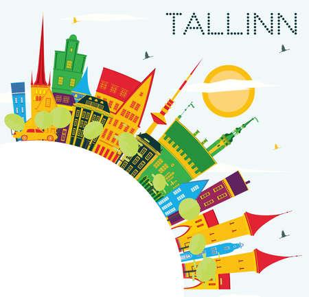 컬러 건물, 푸른 하늘 및 복사 공간 탈린 스카이 라인. 벡터 일러스트 레이 션. 비즈니스 여행 및 역사적인 건축과 관광 개념입니다.