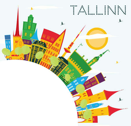 Tallinn Skyline with Color Buildings, Blue Sky and Copy Space. Vector Illustration. Business Travel and Tourism Concept with Historic Architecture.