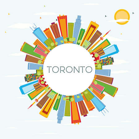 Toronto Skyline with Color Buildings, Blue Sky and Copy Space. Vector Illustration. Business Travel and Tourism Concept with Historic Architecture. Image for Presentation Banner Placard and Web Site. Illustration
