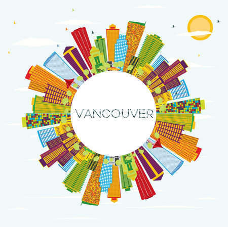 vancouver city: Vancouver Skyline with Color Buildings, Blue Sky and Copy Space. Vector Illustration. Business Travel and Tourism Concept with Modern Architecture. Image for Presentation Banner Placard and Web Site Illustration