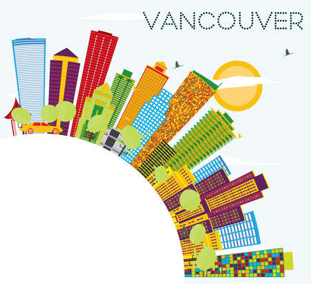 Vancouver Skyline with Color Buildings, Blue Sky and Copy Space. Vector Illustration. Business Travel and Tourism Concept with Modern Architecture. Image for Presentation Banner Placard and Web Site Illustration