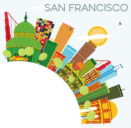 색상 건물, 푸른 하늘 및 복사 공간이 샌 프란 시스 코 스카이 라인. 벡터 일러스트 레이 션. 현대적인 건물 비즈니스 여행 및 관광 개념입니다. 프레젠