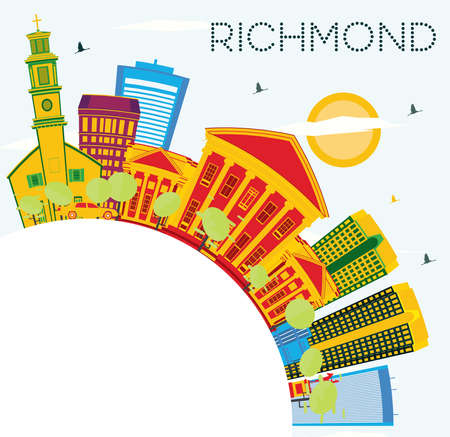 Richmond Skyline with Color Buildings, Blue Sky and Copy Space. Vector Illustration. Business Travel and Tourism Concept with Historic Architecture.