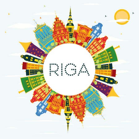Riga Skyline with Color Buildings, Blue Sky and Copy Space. Vector Illustration. Business Travel and Tourism Concept with Historic Architecture.
