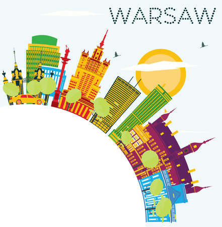 Warsaw Skyline with Color Buildings, Blue Sky and Copy Space. Vector Illustration. Business Travel and Tourism Concept with Historic Architecture. Image for Presentation Banner Placard and Web Site.